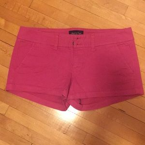 Hot Pink American Eagle Low Rise Twill Shorts